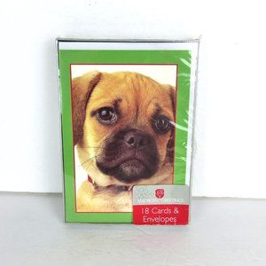 Pug Doggie Puppy Face 18 Christmas Cards Envelope